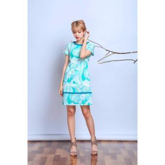 Đầm suông họa tiết lập thể trắng (xanh ngọc)