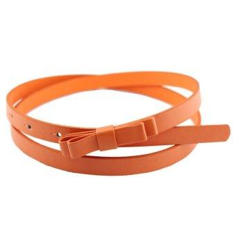 New Fashion Dow Candy Thin Women Pu Leather Casual Belt Cummerbund For Girl Orange