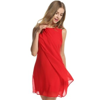 Linemart Meaneor Women's Summer Sleeveless Chiffon A-Line Cocktail Party Dress ( Red ) - intl