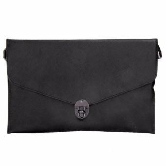 Women Messenger Lock PU Leather Crossbody Shoulder Clutch Bag (Black) - intl