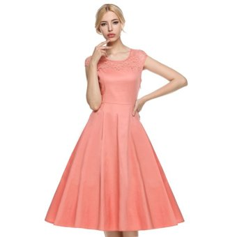 Cyber ACEVOG Women Cap Sleeve 1950s Vintage Style Lace Wedding Party Swing Midi Dress - Intl