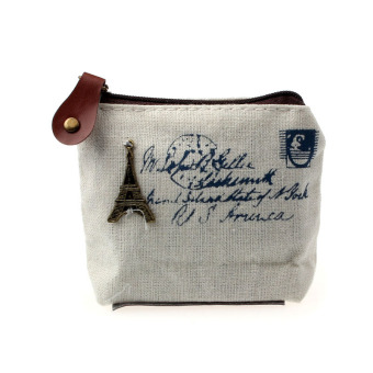 Girl Retro Coin Bag Purse Wallet Card Case Handbag Gift Eiffel Tower White
