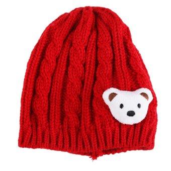 Baby Infant Boy Girl Winter Warm Knitted Hat Cap Cute Bear Embellish Beanie (Intl)
