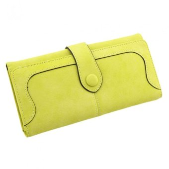Fashion Retro Frosted Purse Pure Color Long Lady's Wallet Yellow - intl