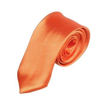 Casual Slim Plain Mens Solid Skinny Neck Party Wedding Tie Necktie Orange