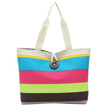 Women Lady Colored Stripe Casual Canvas Handbag Shoulder Bag Tote Bag Style B - intl
