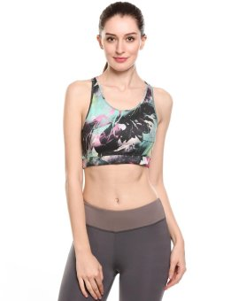 Sunweb Women Round Neck Padded Prints Contrast Color Exercise Fitness Yoga Sports Bra ( Red ) - intl