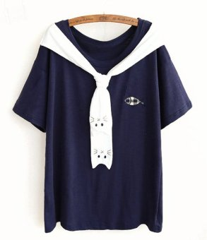 Áo thun nữ kiểu thủy thủ in mặt mèo LTT109