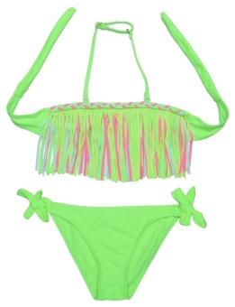 Cyber New Kids Girls Summer Sexy Swimsuit Tassel Bikini Set Bathing Beachwear Swimwear ( Green ) - intl