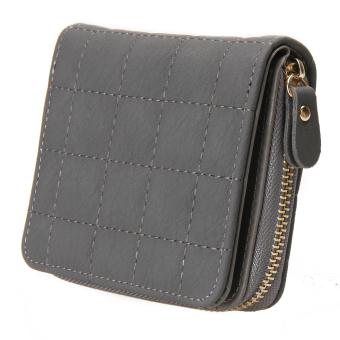 Women PU Leather Plaid Purse Nubuck Card Holder (Grey) - intl