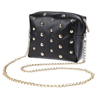 Rivet Embellishment Detachable Chain Mini Shoulder Messenger Bag(Black) - intl