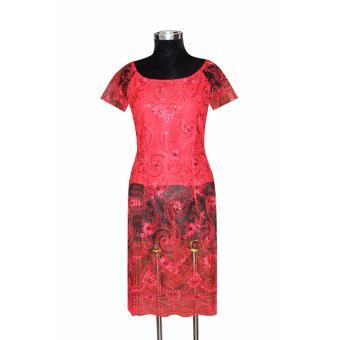 Áo dài cách tân ren thêu đính kim sa tay ngắn Tri Lan AD020 (Đỏ)