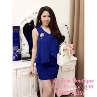 Bộ áo bèo và chân váy ôm xanh G187
