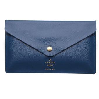 Women Purse Envelope Evening Clutch Bag Ladies Handbag Button Wallet Tote HOT Dark Blue - intl