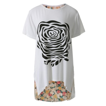 Stylish Scoop Collar Short Sleeve Floral Print Asymetrical Plus Size Women'S T-Shirt(White) - intl--TC