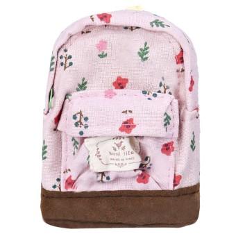Canvas Mini Floral Backpack Women Girls Kids Cheap Coin Pouch Pink - Intl