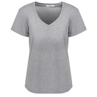 Linemart Meaneor Women Casual Fashion V-Neck Short Sleeve Solid Loose T-Shirt Blouse ( Grey ) - intl