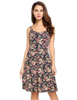 Linemart Women Casual Spaghetti Strap Sleeveless Back Zipper Print Pleated Dress ( Multicolor )(Int:XL)(OVERSEAS) - intl