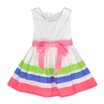 Girls Summer Style Sleeveless Stripe Printed Dress