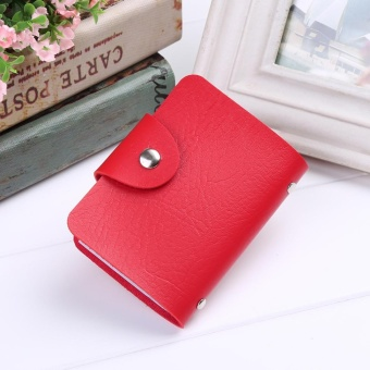 Cyber New New Unisex PU Leather 24 Cards Slots Men Women Purse Wallet Pocket Case ID Credit Card Holder ( Red ) - intl