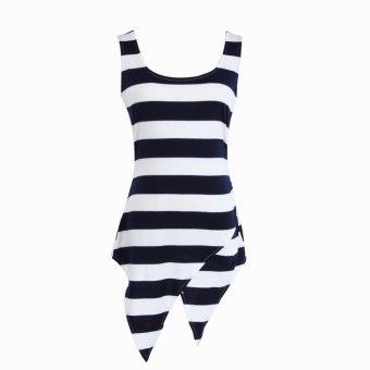 Fashion Women Sleeveless T-shirt Irregular Stripe Tops(White and Black) - INTL