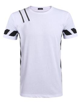 Cyber Men's O-Neck Short Sleeve Zipper Contrast Color Casual T-Shirt ( White ) - intl