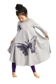 Cyber Butterfly Print Dress (Gray) - intl