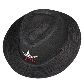 Boy Girl Straw Braid Cowboy Sun Hat Cap Star Applique Classic Topee (Intl)
