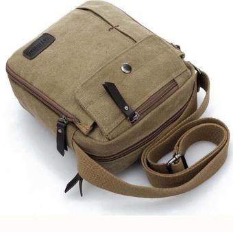 Unisex Fashion Retro Canvas Bag Shoulder Travel Bag Khaki - intl