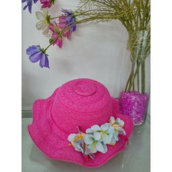 Mũ thời trang bé gái kết Hoa - Hồng Đậm