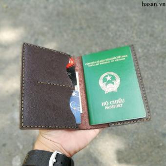 Ví passport handmade da thật cao cấp (Nâu đậm)