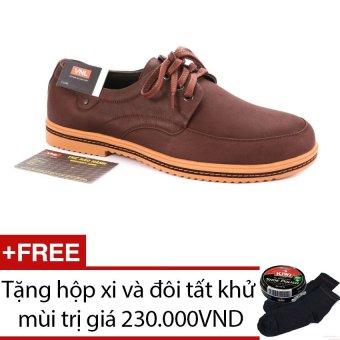 Giày tây nam cao cấp da thật Da Giày Việt Nam VNLL5AZA54QN (Nâu) + Tặng hộp xi và đôi tất khử mùi