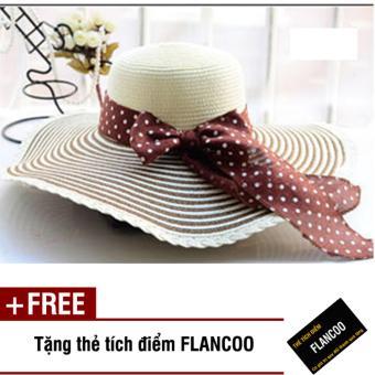 Nón đi biển rộng vành Flancoo 8764 (Trắng phối nâu đậm) + Tặng kèm thẻ tích điểm Flancoo