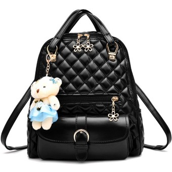 Women Ladies 3 in 1 PU Leather Casual Outdoor Travel Tablet Bag Handbag Backpack Shoulder Bag with Bear Pendant and Petal Shape Zipper Black