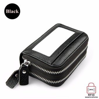 Double-layer PU leather Women wallet organ card bag Handbags High capacity RFID anti-magnetic card package with Zipper black - intl
