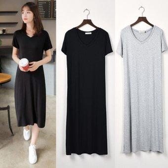 2017 summer dress size thin dress modal A collar black short sleeved V vest dress slim skirt and backing - intl