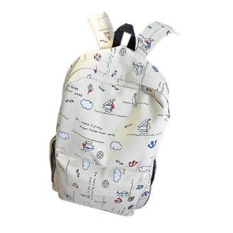Printed Canvas Shoulder Bag Khaki - Intl
