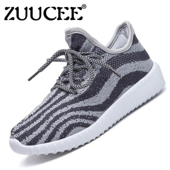 Boys Fashion Breathable Light Striped Net Shoes Weavingsports Shoes Sneaker (Grey) - intl