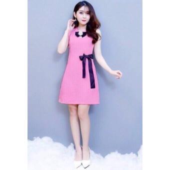 Đầm đính nơ dễ thương ( hồng đậm)