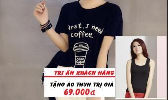 Áo Thun Nữ In Hình Coffee Dễ Thương Trần Doanh D329 ( Màu Đen ) + Tặng Áo Ba Lỗ Cá Tính