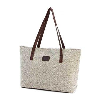 Vintage Winter Women's Handbag Large Casual Shoulder Bag Linen Fabric Material Korean Tote Bag Khaki - intl