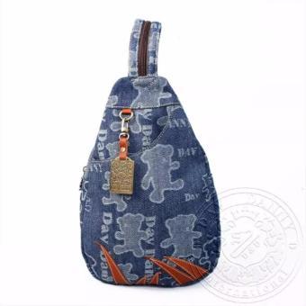Balo nữ nhỏ túi đeo chéo màu xanh gấu Dav Danny dành cho bạn gái - DD144E899
