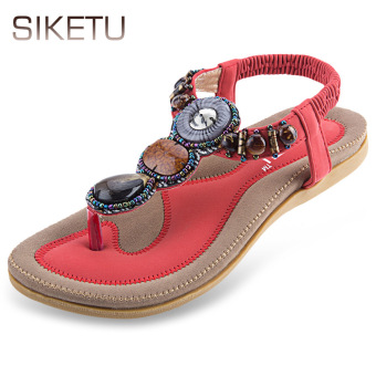 SIKETU Bohemia Rhinestone Design Slip On Flip-flop Sandals(Red) - intl