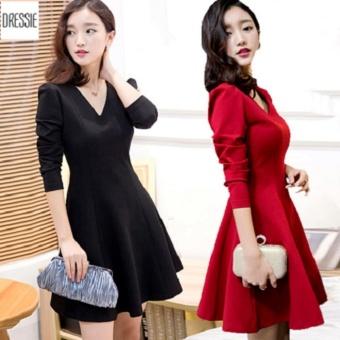 Đầm Xòe Tay Dài Đẹp Thời Trang DRESSIE - DX0430A (Đen)