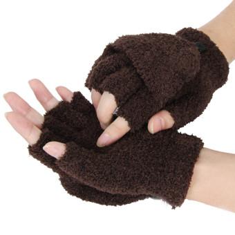 Girls Women Ladies Hand Wrist Warmer Winter Fingerless Gloves Mitten Coffee