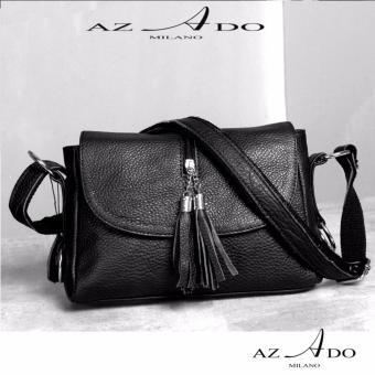 Túi Xách da bò thật TV130, thời trang Azado ( đen)