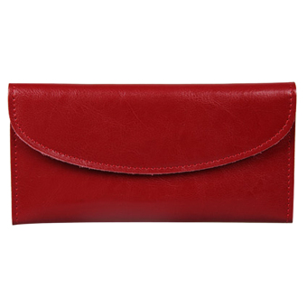 Women Genuine Leather Wallet Clutch Purse Handbag Bag Trifold Bifold Red - Intl