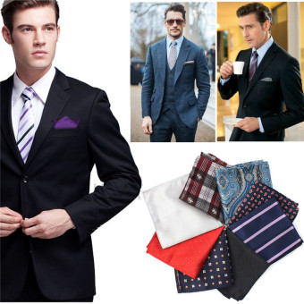 Men Pocket Square Hankerchief Korean Silk Paisley Dot Floral Hanky Wedding Party Style23 - Intl