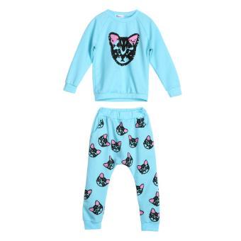 2PCS Toddler Kids Baby Girls Autumn Outfits Clothes Cat T-shirt + Pants Set(Light Blue) - intl