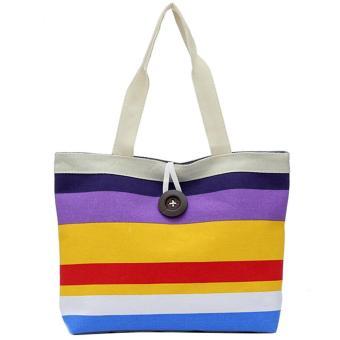 Women Lady Colored Stripe Casual Canvas Handbag Shoulder Bag Tote Bag Style C - intl